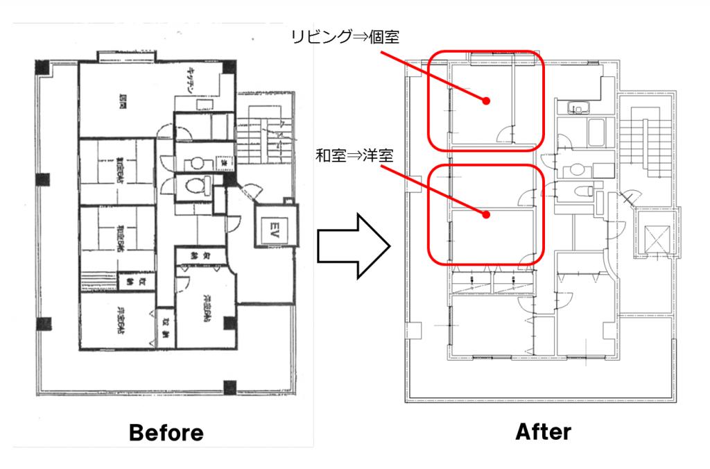 4LDKのリビングを個室に改装、4室⇒5室に拡張しました。